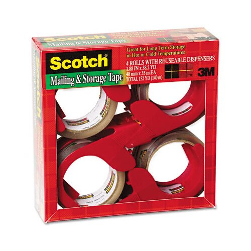 3M Scotch Moving and Storage Tape, 4 Rolls/Pack