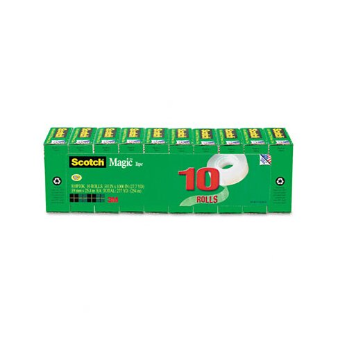 "3M Magic Tape Value Pack, 3/4"" x 28 Yards, 1"" Core, 10/Pack"