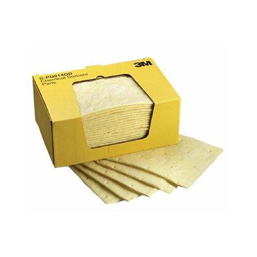 """3M High-Capacity Chemical Sorbent Pads - 9-1/4""""x14-1/2"""" pad chemical sorbent 25 pads per"""