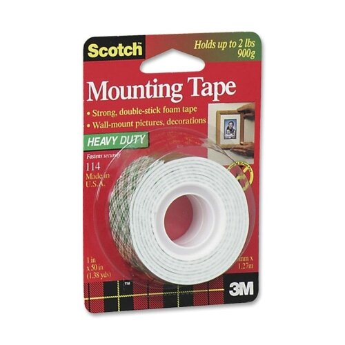 "3M Mounting Tape, Holds 2 lb., 1""x50"", White"