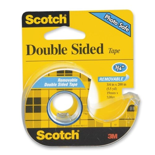 """3M Double-Sided Tape, Removable, 3/4""""x200"""", Transparent"""