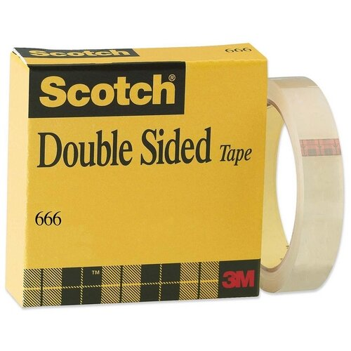 "3M Double-sided Tape, With Liner, 3""Core, 1""x36Yards, Clear"