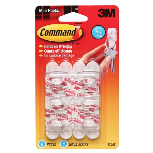 3M Mini Hook with Command Adhesive (6 Pack)