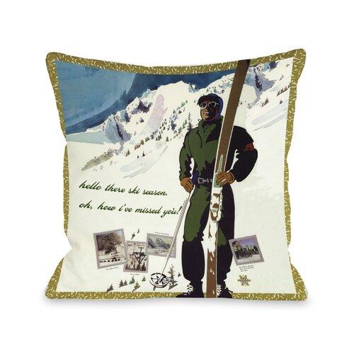 Hello There Ski Season Vintage Ski Pillow