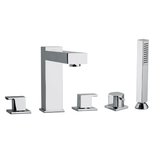 Jewel Faucets J12 Bath Series Two Lever Handle Roman Tub Faucet and Hand Shower with Linear Matched Spout
