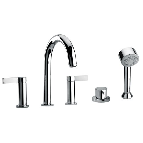Jewel Faucets J14 Bath Series Two Lever Handle Roman Tub Faucet and Hand Shower with Classic Spout