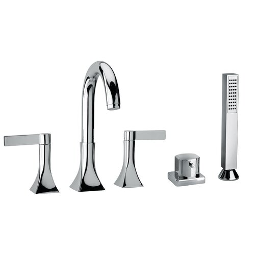 Jewel Faucets J17 Bath Series Two Blade Handle Roman Tub Faucet and Hand Shower with Goose Neck Spout