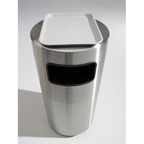 Toledo Metal Spinning Cleanline 39 Gallon Side Load Stainless Steel Waste Receptacle with Tray Top