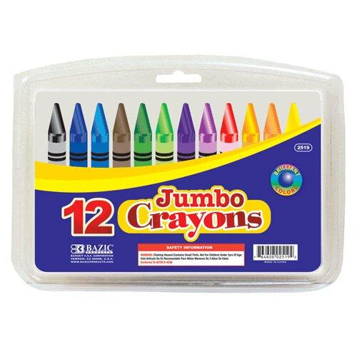 Bazic 12 Color Premium Quality Jumbo Crayon Set