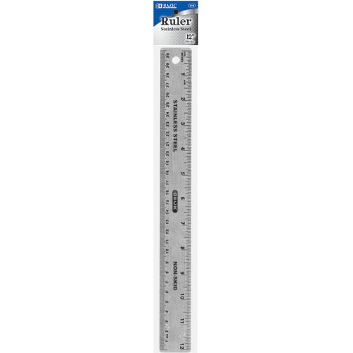 "Bazic 12""  Stainless Steel Ruler"