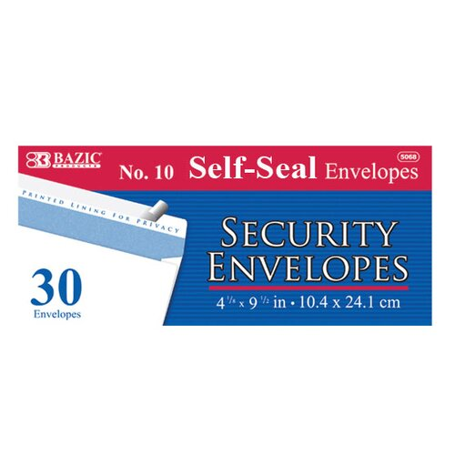 Bazic 30 Self-Seal Security Envelopes