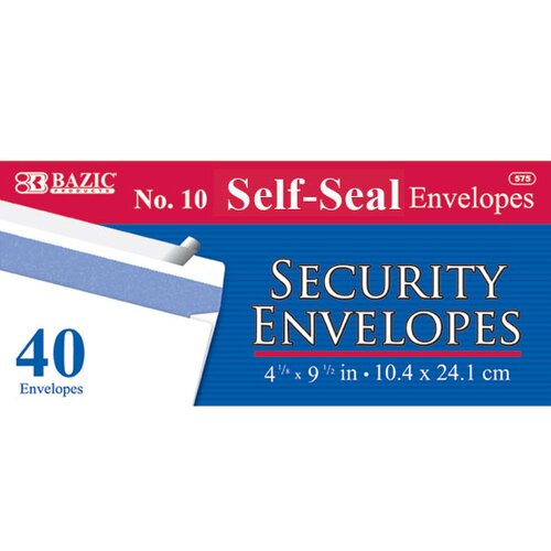 Bazic 40 Ct. Self-Seal Security Envelopes