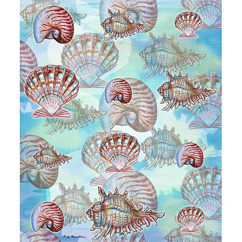 Betsy Drake Interiors Assorted Shells Polyester Throw