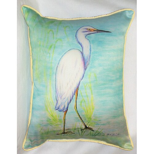 Betsy Drake Interiors Coastal Snowy Egret Indoor / Outdoor Pillow