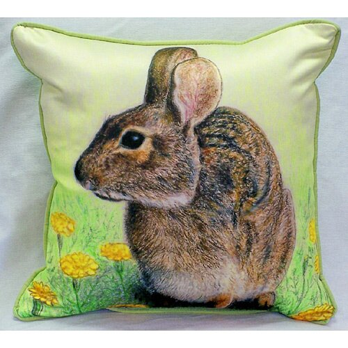 Betsy Drake Interiors Garden Rabbit Indoor / Outdoor Square Pillow