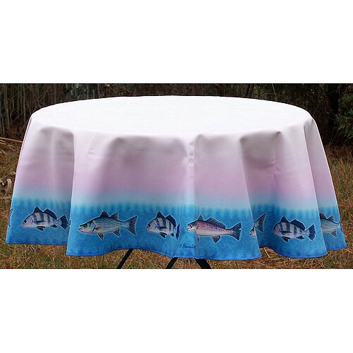 Betsy Drake Interiors Assorted Fish Round Tablecloth