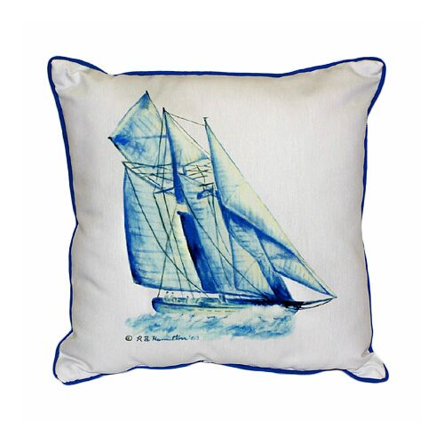 Betsy Drake Interiors Coastal Sailboat Indoor / Outdoor Pillow