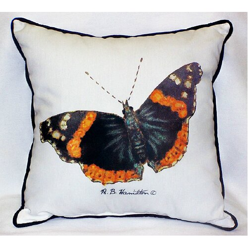 Betsy Drake Interiors Garden Admiral Butterfly Indoor / Outdoor Pillow