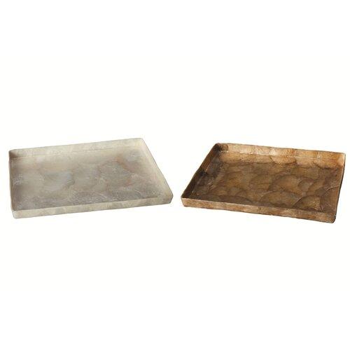 Dekorasyon Gifts & Decor Capiz Rectangular Tray with Straight Edge