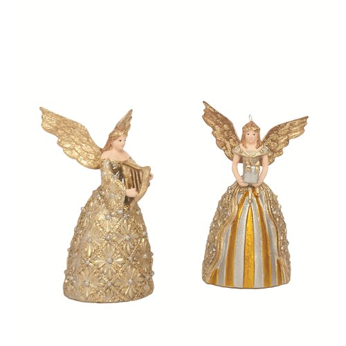 Lace Filigree Angel with Gift and Harp Ornament (Set of 2)