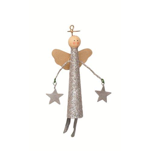 Glittered Tin Slim Cone Angel with Stars Ornament (Set of 2)