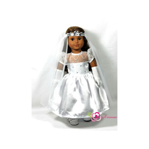 "Arianna First Holy Comunion 3 Piece Doll Dress Set for 18"" American Girl Doll"