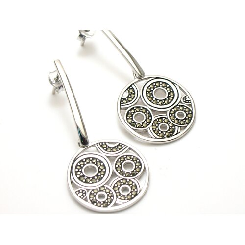 JRJ Creations Modern Marcasite Circle Cut 80 Marcasite Earrings