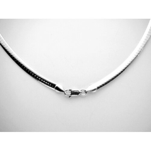 JRJ Creations Modern Silver Designs Sterling Silver 4MM Domed Oval Omega Necklace