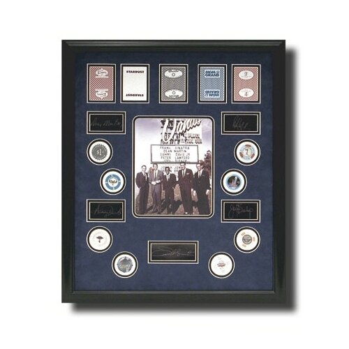 Legendary Art 'Rat Pack' Casino Themed Picture with Signatures Framed Memorabilia Shadow Box