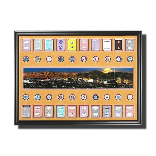 Legendary Art Las Vegas Strip with Casino Chips Memorabilia Shadow Box