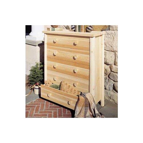 Rustic Natural Cedar Furniture Adirondack 5 Drawer Chest