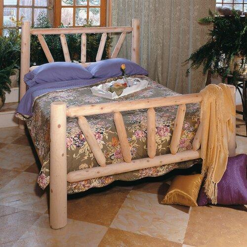 Rustic Natural Cedar Furniture Sunburst Frame Slat Bed