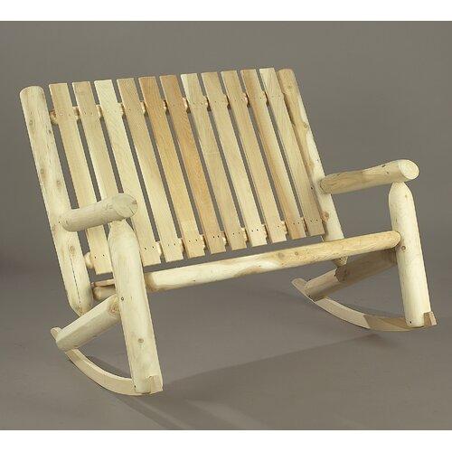 Rustic Natural Cedar Furniture Indoor / Outdoor Double Rocking Chair