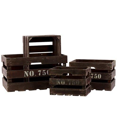 4 Piece Wooden Basket Set