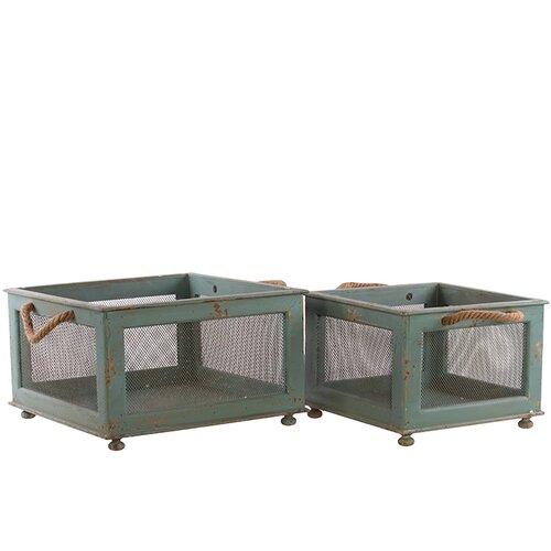 2 Piece Metal Wooden Basket Set