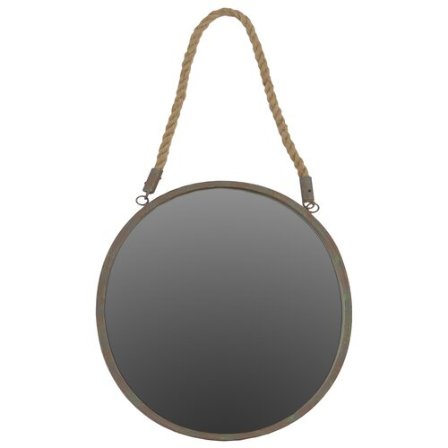 urban trends metal round mirror with rope hanger rusty steel finish. Black Bedroom Furniture Sets. Home Design Ideas