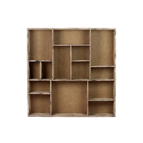 Shelves Wood Backing: Urban Trends Wood Wall Shelf With 14 Shelves And Burlap