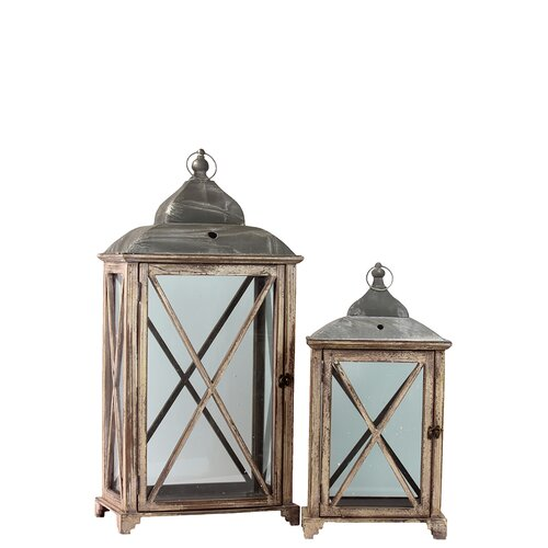 Urban Trends Wooden Lantern Set of Two