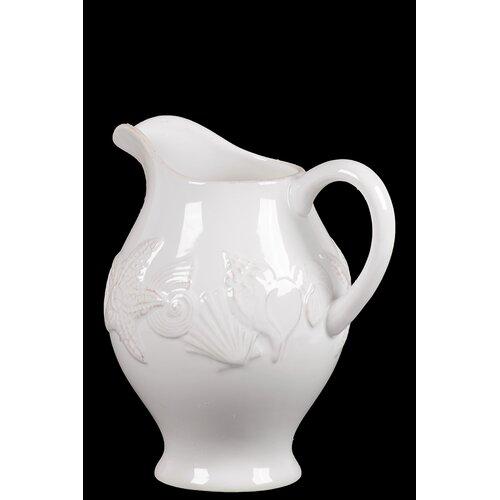 Urban Trends Ceramic Seashell Pitcher