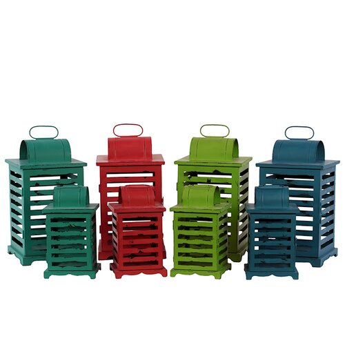 Urban Trends Metal Lantern Four Sets of Two, Four Assorted Colors