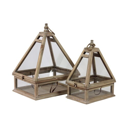 Urban Trends Wooden Terrarium Set of Two