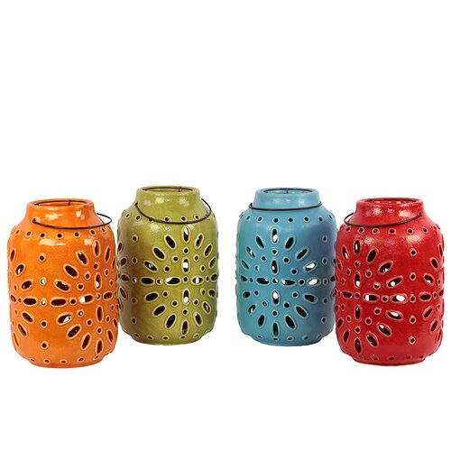 Urban Trends Ceramic Lantern Set of Four Assorted