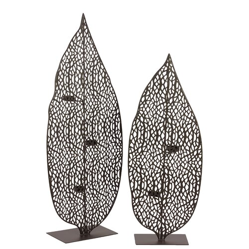 Urban Trends Metal Leaf Candle Holder Set of Two