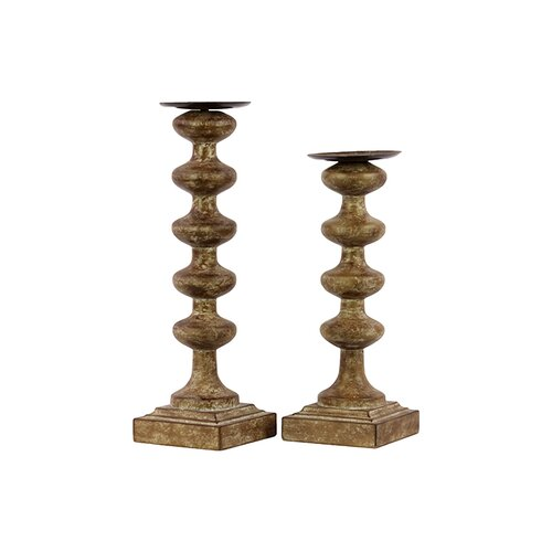 Urban Trends Wooden Candle Holder Set of Two