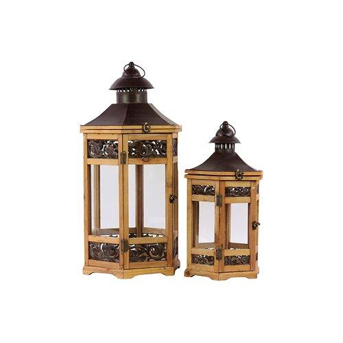 Urban Trends Wooden/Metal Lantern Set of Two