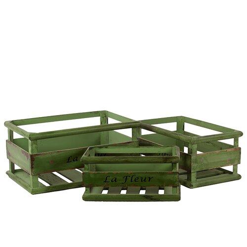 3 Piece Wooden Basket Set