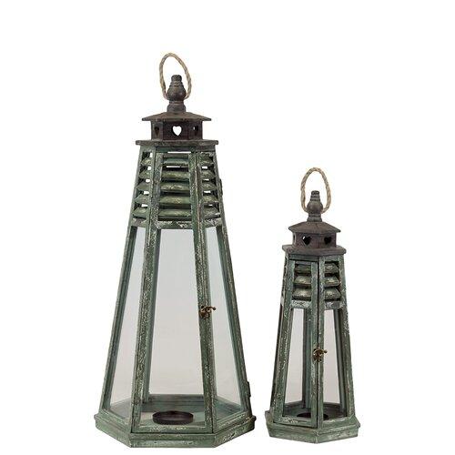 Urban Trends Wooden Lantern Set of Two