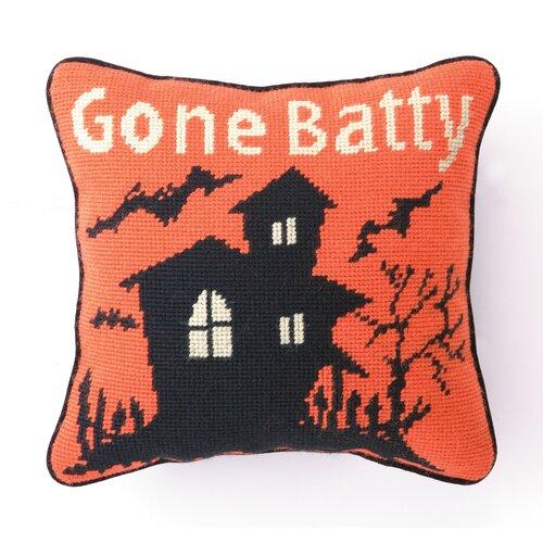 Peking Handicraft Gone Batty Needlepoint Pillow