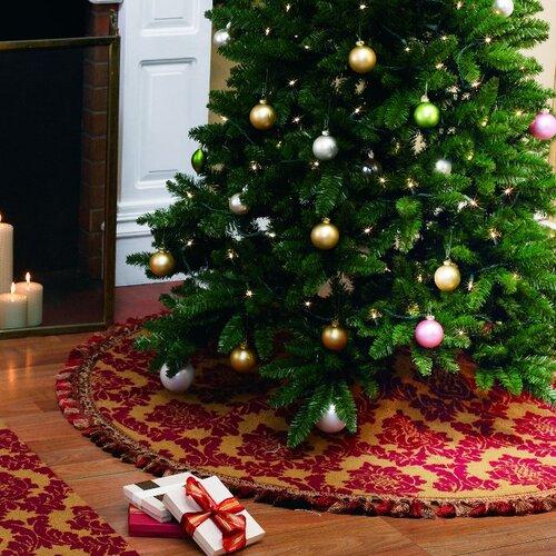 Peking Handicraft Damask Christmas Hooked Tree Skirt
