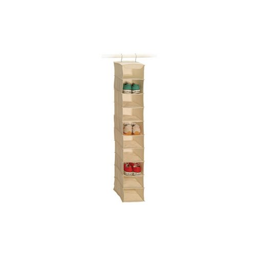 Richards Homewares Natural Canvas Storage 10 Shelf Men's Shoe Organizer